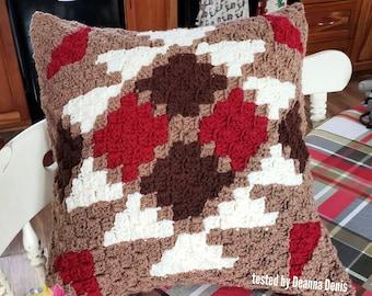 Southwest Pillow, C2C Crochet Pattern, Written Row by Row, Color Counts, Instant Download, C2C Graph, C2C Pattern, Crochet Pillow