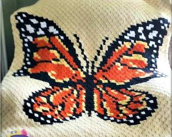Monarch Butterfly Afghan, C2C Crochet Pattern, Written Row Counts, C2C Graphs, Corner to Corner Crochet Pattern, C2C Graph