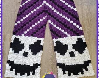 Spooky Ghoul Scarf, C2C Crochet Pattern, Written Row by Row, Color Counts, Instant Download, C2C Graph, C2C Pattern, C2C Crochet