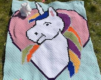 Unicorn Heart Afghan, C2C Crochet Pattern, Written Row Counts, C2C Graphs, Corner to Corner, Crochet Pattern, C2C Graph