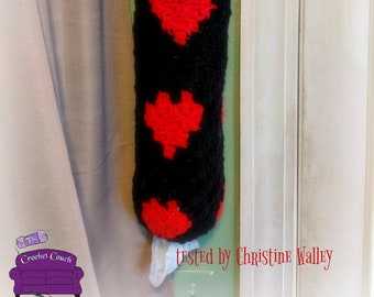 Hearts Grocery Bag Holder, C2C Crochet Pattern, Written Row by Row, Color Counts, Instant Download, C2C Graph, C2C Pattern, Crochet Pattern