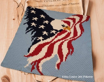 Eagle with Wings of Flag Afghan C2C Crochet Pattern, Written Row by Row Counts, C2C Graphs, Corner to Corner Crochet Pattern, Graphgan