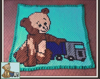 Teddy Bear with Truck Afghan, C2C Crochet Pattern, Written Row Counts, C2C Graphs, Corner to Corner, Crochet Pattern, C2C Graph
