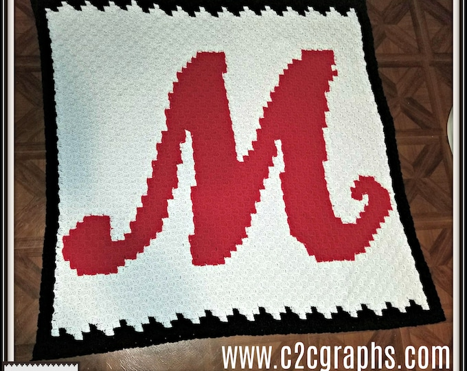 Featured listing image: Letter M Swirly Afghan, 3 color, C2C Graph, and Written Word Chart