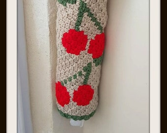 Cherry Grocery Bag Holder C2C Crochet Pattern, Written Row by Row Counts, C2C Graphs, Corner to Corner Crochet Pattern, Bag Storage, Kitchen
