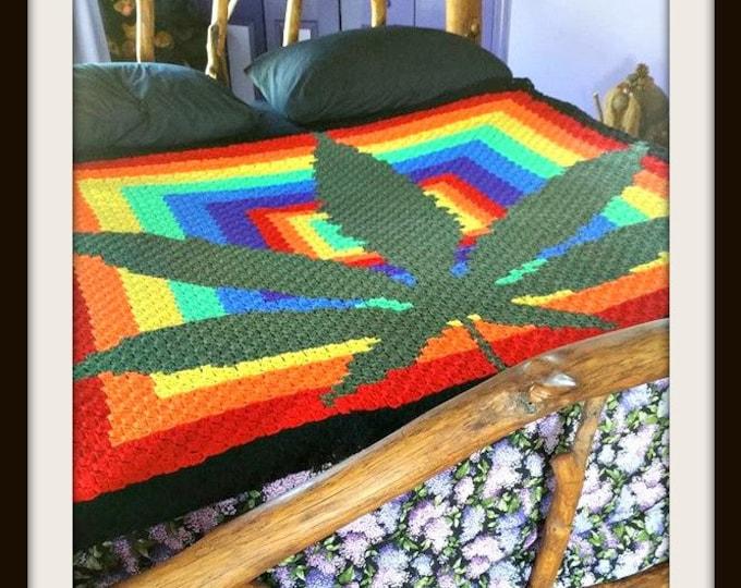 Featured listing image: Marijuana Leaf Afghan, C2C Crochet Pattern, Written Row Counts, C2C Graphs, Corner to Corner, Crochet Pattern, C2C Graph
