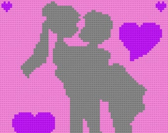 Groom Holding Bride with hearts Wedding Afghan, C2C Crochet Pattern, Written Row Counts, C2C Graphs, Corner to Corner, Crochet Pattern
