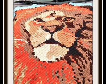 Lion Afghan, C2C Crochet Pattern, Written Row Counts, C2C Graphs, Corner to Corner, Crochet Pattern, C2C Graph