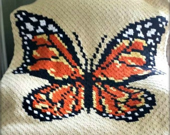 Monarch Butterfly Afghan C2C Crochet Pattern, Written Row by Row Counts, C2C Graphs, Corner to Corner Crochet Pattern, Graphgan, Butterfly