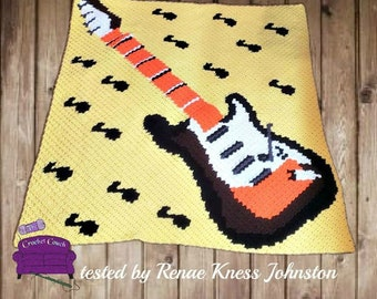 Guitar Notes Afghan C2C Crochet Pattern, Written Row by Row Counts, C2C Graphs, Corner to Corner Crochet Pattern, Graphgan, Guitar C2C Graph
