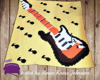 Guitar Notes Afghan, C2C Crochet Pattern, Written Row Counts, C2C Graphs, Corner to Corner, Crochet Pattern, C2C Graph
