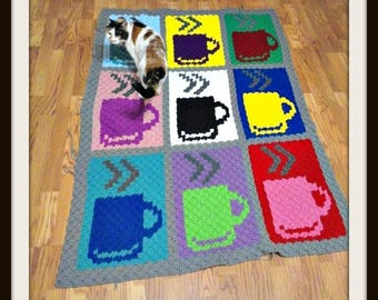Coffee Cups Afghan, C2C Graph, Written Word Chart