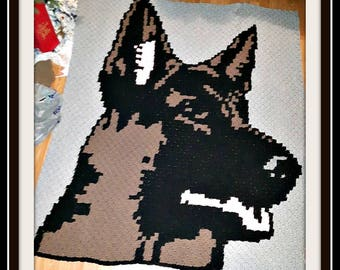 German Shepherd Afghan, C2C Crochet Pattern, Written Row Counts, C2C Graphs, Corner to Corner, Crochet Pattern, C2C Graph