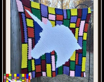 Unicorn Stained Glass Afghan, C2C Crochet Pattern, Written Row Counts, C2C Graphs, Corner to Corner, Crochet Pattern, C2C Graph