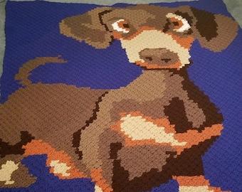Dachshund Pup Afghan C2C Crochet Pattern, Written Row Counts, C2C Graphs, Corner to Corner Crochet Pattern, Graphgan, Dachshund C2C Graph