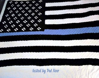 Blue Line Flag Afghan, C2C Crochet Pattern, Written Row Counts, C2C Graphs, Corner to Corner, Crochet Pattern, C2C Graph