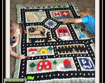 City Play Mat Afghan, C2C Crochet Pattern, Written Row Counts, C2C Graphs, Corner to Corner, Crochet Pattern, C2C Graph