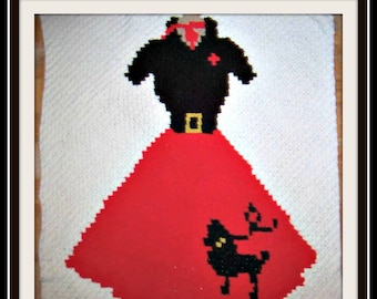 Poodle Skirt Afghan, C2C Crochet Pattern, Written Row Counts, C2C Graphs, Corner to Corner, Crochet Pattern, C2C Graph