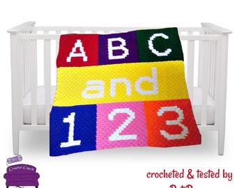 ABC and 123 Baby Afghan, C2C Crochet Pattern, Written Row Counts, C2C Graphs, Corner to Corner, Crochet Pattern, C2C Graph
