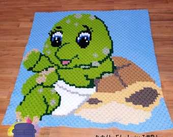 Turtle Leaning on Shell  Kids Afghan, C2C Crochet Pattern, Written Row Counts, C2C Graphs, Corner to Corner, Crochet Pattern, C2C Graph