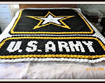 Army Afghan, C2C Crochet Pattern, Written Row Counts, C2C Graphs, Corner to Corner, Crochet Pattern, C2C Graph