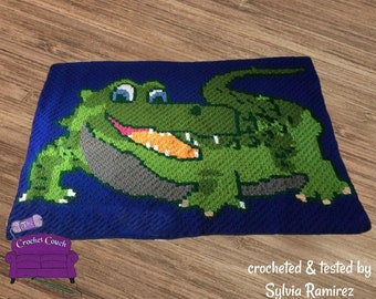 Alligator Kids Afghan, C2C Crochet Pattern, Written Row by Row, Color Counts, Instant Download, C2C Graph, C2C Pattern, Graphgan