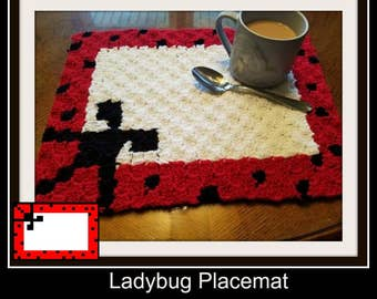 Ladybug Placemat, C2C Crochet Pattern, Written Row Counts, C2C Graphs, Corner to Corner Crochet Pattern, C2C Graph