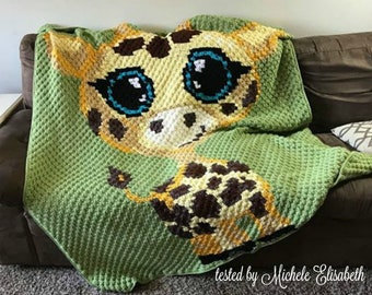 Baby Giraffe Afghan, C2C Crochet Pattern, Written Row Counts, C2C Graphs, Corner to Corner, Crochet Pattern, C2C Graph