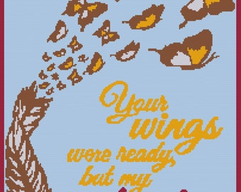 Your Wings Afghan, sc Crochet Pattern, tss Crochet Pattern, Written Row by Row,  Instant Download, sc Graph, tss Graph, Graphgan