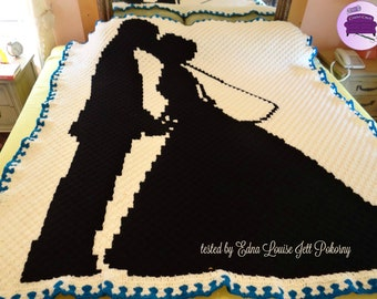 Wedding Couple Afghan, C2C Crochet Pattern, Written Row Counts, C2C Graphs, Corner to Corner, Crochet Pattern, C2C Graph