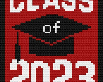 Class of 2023 Afghan, C2C Crochet Pattern, Written Row Counts, C2C Graphs, Corner to Corner, Crochet Pattern, C2C Graph