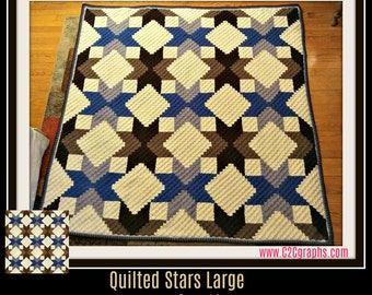 Quilted Stars  Brown Quilted Stars Large, C2C Crochet Pattern, Written Row Counts, C2C Graphs, Corner to Corner, Crochet Pattern, C2C Graph
