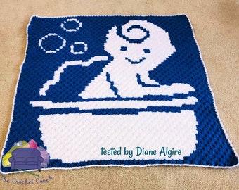 Bathing Baby Afghan, C2C Crochet Pattern, Written Row by Row, Color Counts, Instant Download, C2C Graph, C2C Pattern, C2C Crochet, Graphgan