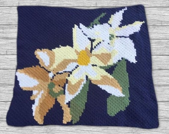 Lily Afghan, C2C Crochet Pattern, Written Row Counts, C2C Graphs, Corner to Corner, Crochet Pattern, C2C Graph
