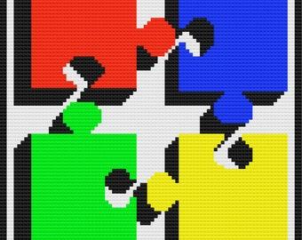 Puzzle Big Pieces Afghan, C2C Crochet Pattern, Written Row by Row, Color Counts, Instant Download, C2C Graph, C2C Pattern, Graphgan