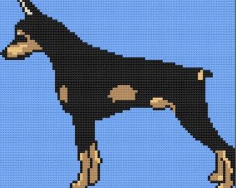 Doberman Afghan, C2C Crochet Pattern, Written Row by Row, Color Counts, Instant Download, C2C Graph, C2C Pattern, c2c graphgan pattern