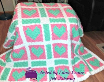 Edna Quilt Blanket, C2C Crochet Pattern, Written Row Counts, C2C Graphs, Corner to Corner, Crochet Pattern, C2C Graph