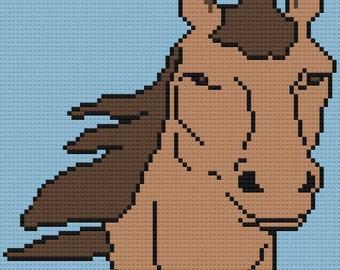 Horse Afghan 4 color C2C Crochet Pattern, Written Row Counts, C2C Graphs, Corner to Corner Crochet Pattern, Graphgan, Horse C2C Graph