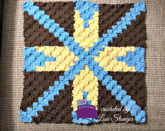 Darlene Quilt Square, C2C Crochet Pattern, Written Row Counts, C2C Graphs, Corner to Corner, Crochet Pattern, C2C Graph