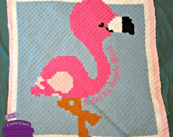 Flamingo Baby Afghan, C2C Crochet Pattern, Written Row by Row, Color Counts, Instant Download, C2C Graph, C2C Pattern, Graphgan Pattern
