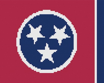 Tennessee Flag Afghan, C2C Crochet Pattern, Written Row by Row, Color Counts, Instant Download, C2C Graph, C2C Pattern, Graphgan Pattern