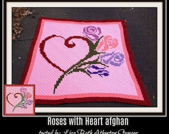 Roses with Heart Afghan, C2C Crochet Pattern, Written Row Counts, C2C Graphs, Corner to Corner, Crochet Pattern, C2C Graph