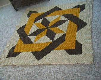 Blocked Star Quilt Afghan C2C Crochet Pattern, Written Row by Row Counts, C2C Graphs, Corner to Corner Crochet Pattern, Graphgan, Quilt C2C