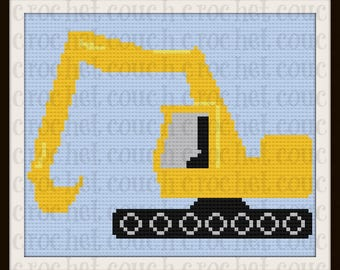 Excavator Kids Afghan, C2C Graph, Written Word Chart