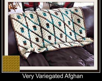 Very Variegated Afghan, C2C Crochet Pattern, Written Row Counts, C2C Graphs, Corner to Corner, Crochet Pattern, C2C Graph