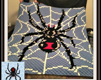 Black Widow Spider Afghan, C2C Graph, with Written Word Chart