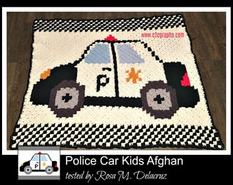 Police Car Kids Afghan, C2C Crochet Pattern, Written Row Counts, C2C Graphs, Corner to Corner, Crochet Pattern, C2C Graph