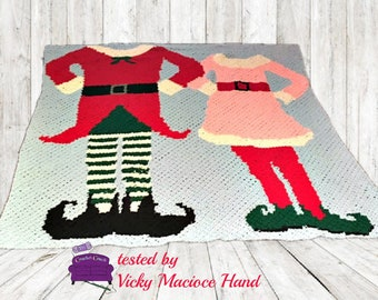 Elf Couple Afghan, C2C Crochet Pattern, Written Row Counts, C2C Graphs, Corner to Corner, Crochet Pattern, C2C Graph