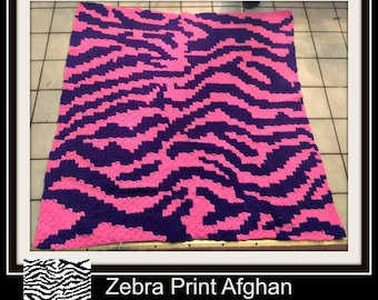 Zebra Afghan, C2C Crochet Pattern, Written Row Counts, C2C Graphs, Corner to Corner Crochet Pattern, C2C Graph