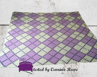 Argyle Afghan Crochet Pattern, 3 Color, C2C Crochet